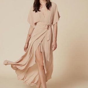 REFORMATION WOOSTER NUDE CHAMPAGNE MAXI DRESS